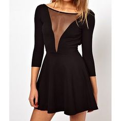 Sexy Round Collar 3/4 Sleeve See-Through Backless Women's Dress