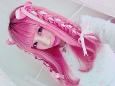 cute pink hair with ribbons through the braids on the sides Kawaii Hairstyles, Pretty Hairstyles, Braided Hairstyles, Mode Lolita, Hair Reference, Creative Hairstyles, Mermaid Hair, Grunge Hair, Cosplay Wigs