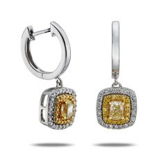 7/8 ctw Natural Yellow and White Diamond Earrings