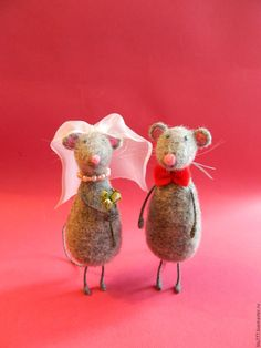 Купить Мышкина свадьба - серый, мыши, мышка, мышки, мышь, мышь валяная, мышь из шерсти