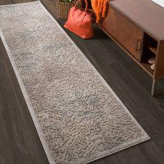 Nourison Graphic Illusions Grey Antique Damask Pattern Rug (2'3 X 8')