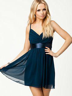 Tie Back Ruched Strap Dress - Elise Ryan - Navy - Festklänningar - Kläder - Kvinna - Nelly.com