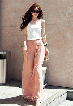 Pale pink maxi style chiffon trousers