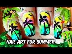 Model exotic pentru unghii cu palmieri- Nail Art Palm Tree - By Red Mani...