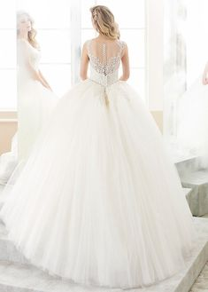 Bridesfamily Delicate Tulle Jewel Neckline Ball Gown Wedding Dress With Beaded Lace Appliques Outdoor Wedding Dress, Gown Wedding, Wedding Dresses, Illusion Neckline Wedding Dress, Beautiful Wedding Gowns, Beaded Lace, Lace Applique, Ball Gowns, Tulle