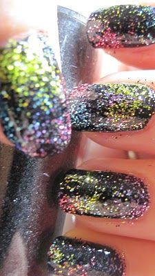 glitter/galaxy nails