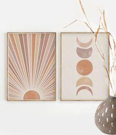 Sun and Moon Print Set of Decor ,Terracotta and Mauve Printable Mid Century Modern Print Moon, Creation Deco, Art Original, Boho Decor, Rustic Decor, Decoration, Etsy, Canvas Art, Art Prints