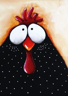ACEO Print Folk Art illustration whimsical bird painting chicken pox #IllustrationArt