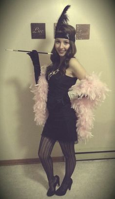 Flapper girl - Easy DIY halloween costume! I would switch the fishnet tights for sheer black ones