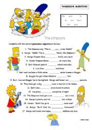 English Exercises: Fill in the blanks: Possessive Adjectives