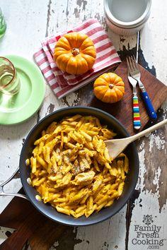 Pumpkin Mac 'n Cheese Recipe on FamilyFreshCooking.com © MarlaMeridith.com