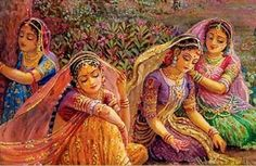 When Gopis did not find Krishna, they became breathless. Bemused Gopis' looked all over, but in vain. Then, with their body, mind and soul in unison with Krishna's memories, they arrived at the banks of river Yamuna. Immersed in his unfathomable love and earnestly longing for his heavenly vision, Gopis' started singing the glory of his divine grace and the very tunes became known as Gopi Geet - cries for Krishna.