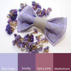 EMBROIDERED bow tie LILAC grey pretied bowtie от accessories482