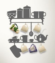 Kitchen Helper - the Mug Rack - dd1019 - Removable Graphic Wall Decal. $45.00, via Etsy.
