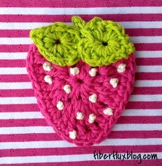 Free Crochet Pattern...Summer Strawberry Applique!