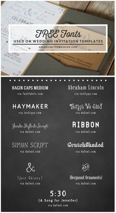 FREE Fonts to use on Rustic or Vintage Inspired Invitations + download a FREE Printable Wedding Invitation and Details Card! ahandcraftedwedding.com