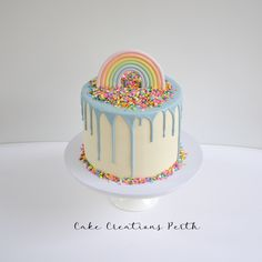 Rainbow and Sprinkles cake Little Pony Cake, My Little Pony Birthday, Rainbow First Birthday, 4th Birthday, Birthday Cake Crown, Cake Creations, Celebration Cakes, Themed Cakes, Party Cakes
