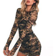 Transparent Camouflage Mini Dress