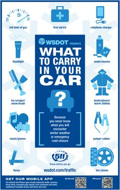Make your own winter driving emergency kit with these tips from WSDOT. #DIY #safety #infographic