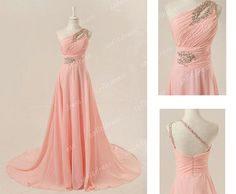 blush pink prom dresses one shoulder prom dress long by sofitdress, $136.00