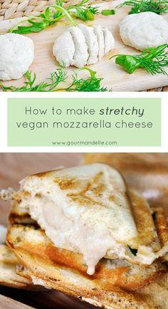Learn how to make stretchy vegan mozzarella cheese, the easy way! Learn how to make stretchy vegan mozzarella cheese, the easy way! Vegan Cheese Recipes, Vegan Foods, Vegan Dishes, Raw Food Recipes, Vegetarian Recipes, Cashew Cheese, Vegan Lunches, Cheap Recipes, Coconut Milk Cheese Recipe