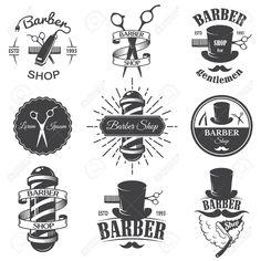 Set of vintage barber shop emblems, label, badges and designed..