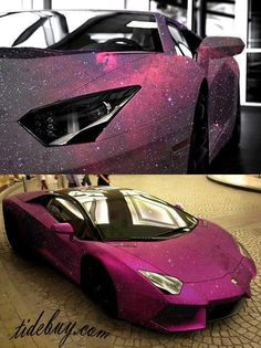 Check out the amazing pink shimmery paint job on this Lambo www.cardeck.co.uk