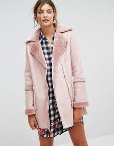 Stradivarius Faux Shearling Jacket - Pink