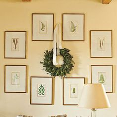 Seasonal Wall Art | Rearrange your prints like these botanicals for the season to make room for a wreath. Simply tie it with a knot of satin ribbon. | SouthernLiving.com