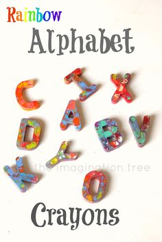A fun way to promote playful literacy! Make some alphabet rainbow crayons together. Great for kiddie gifts too! From http://theimaginationtree.com
