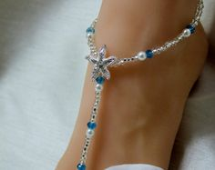 Crystal Beach Wedding Barefoot Sandal Blue Starfish Foot Jewelry Bottomless Sandals Beach Wedding Barefoot Sandals Pearl Anklet