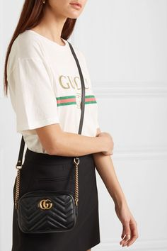 Black leather (Calf) Zip fastening along top Comes with dust bag Weighs approximately Made in Italy Trendy Outfits, Cool Outfits, Fashion Outfits, Womens Fashion, Beautiful Outfits, Luxury Fashion, Gucci Marmont Mini, Gg Marmont, Bags