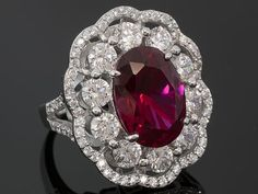 Charles Winston For Bella Luce(R)12.06ctw Lab Created Ruby/Wht Dia Simulant Rhodium Over Silver Ring