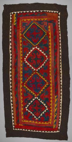 uzbek felt rug, tribal nomads textiles, Central Asia, Uzbekistan, circa 1900.