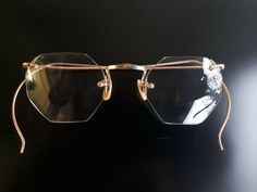 American Optical AO gold rimless wel flex glasses with octagonal bifocal glass #Ao #Rimless #Everyday