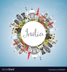 India City Skyline with Color Buildings, Blue Sky and Copy Space. Tourism Concept with Historic Architecture. India Cityscape with Landmarks.
