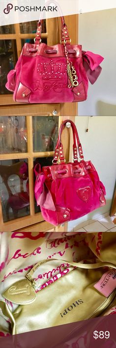 "Designer juicy couture elegant shoulder sachet bag In beautiful hot pink color with adorned in golden metal and leather inside pocket with zipper and heart ❤️ mirror look 👀 new it does not have holes or scratches or stains,littler use perfect condition size 15""x10"" Juicy Couture Bags Shoulder Bags"
