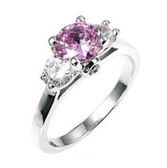 White Gold & Lavender Triplet Ring. Gorgeous Lavender surrounded by two sparkling clear crystals. Available at www.silvermoonbayjewelry.com #jewelry