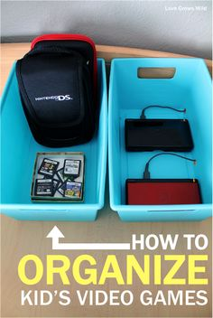 How to Organize Kid's Video Games www.lovegrowswild.com | Great tips to hide cords and keep games organized! #organize #kid #game