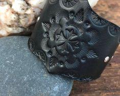 Hand Tooled Leather Cuff Bracelet, Unique Shape Tooled Leather Cuff, Black Leather Cuff with Silver Studs