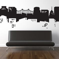 NYC Gotham City Batman or Spiderman Vinyl HUGE Decal Sticker Original Graphics by DECOmod Walls