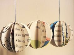 Handmade paper Christmas baubles - tree decorations made from vintage children's books - set of six. £10.00, via Etsy.