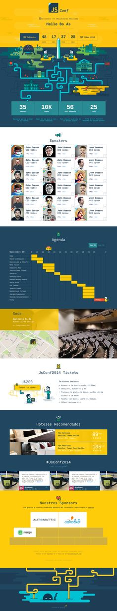 JsConf 2014. Fun and engaging design for promoting conference. #webdesign #flat