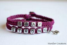 Stay Strong Punk Pink Recovery Bracelet Set by MandarrCreations