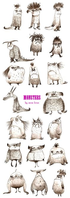 Monsters by Anna Bronk- make them describe to the other person in 5 words and try to guess the monster.  Or use compare and contrast.  or use cause and effect (how they got that way). Monster Illustration, Character Illustration, Illustration Art, Monster Art, Monster Design, Cooles Poster, Funny Monsters, Art Education, Character Art