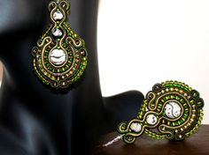 Beautiful Large Green Soutache Earrings for Women by margoterie