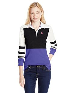 U.S. Polo Assn. Juniors Long Sleeve Color Block with Twill Collar