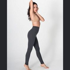 AA High Waist Leggings American Apparel cotton/spandex high waist leggings in ASPHALT. Size small. Brand new. Great with oversized transparent tops! No trades American Apparel Pants Leggings