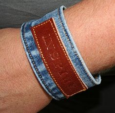 turn waistbands from jeans into cool bracelets