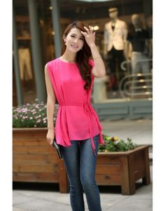 Indressme | Red round neck sleeveless cloaks chiffon shirt style 13072500103 only $21.67 . #indressme #fitnessfashionfreebies